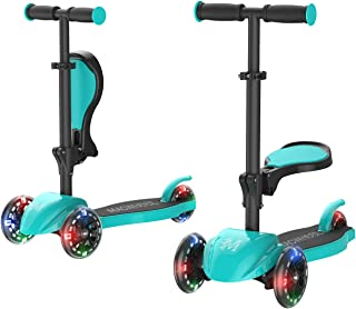 Macwheel 2-in-1 Kick Scooter with Folding/Removable Seat, Three-Wheeled Scooters with LED Light Up Wheels, Height Adjustable for Kids & Toddlers Girls or Boys(MK1)