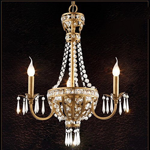 MIKEWEI Home Chandelier American Crystal Chandelier Retro Iron Countryside European Style Creative French Pastoral Restaurant Nordic Living Room Lighting Pendant Lamp