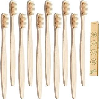 10 cepillos de dientes de bambú orgánicos de madera natural de alta calidad, ecológicos, con cerdas de carbón suave, libre de BPA, apto para veganos, cepillo de dientes sin plástico