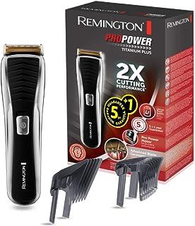 Remington Pro Power Titanium Plus HC7150 - Máquina de Cortar Pelo, Cuchillas de Titanio, Recargable, Litio, Negro