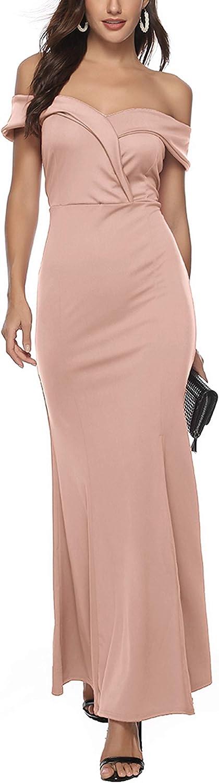 Sales for sale JFseason Women's Off Shoulder V Neck Formal Maxi Even Split Attention brand Side