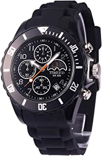 Time100 Mens Silicone Strap Sport Watch Fashion Multifunction Environmental Watches for Men Black