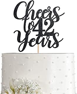 42 Black Glitter Happy 42nd Birthday Cake Topper, Cheers to 42 Years Party Cake Topper Decorations, Supplies