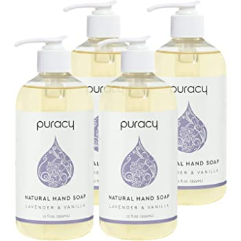 Puracy Natural Liquid Hand Soap, Lavender & Vanilla, Moisturizing Gel Hand Wash, 12 Ounce (4-Pack)