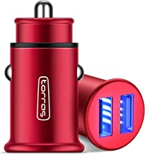 TORRAS All Metal Car Charger, Flush Fit 4.8A Fast Dual USB Car Charger Adapter Compatible with iPhone Xs/Xs Max/XR/X / 8/7 / Plus / 6, Galaxy S10 / S9 / S8 and All 5V USB Devices, Red