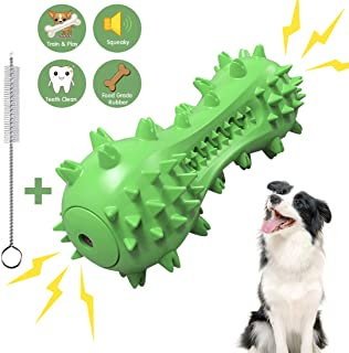 UOLIWO Squeaky Dog Toothbrush Chew Toy, Teeth Cleaning Dental Care Bone Toys Extremely Durable Dog Chew Stick for for Small Medium Large Dogs (Fit 20-70 lbs)