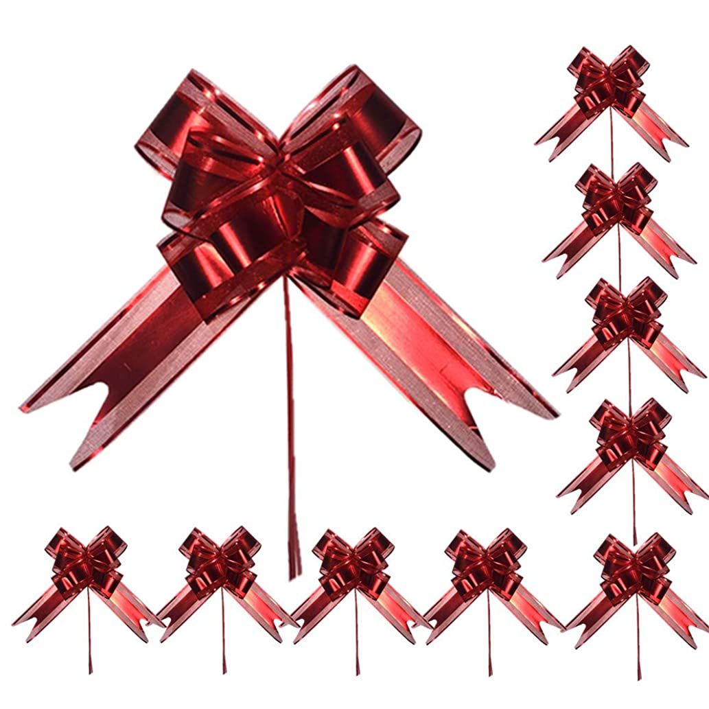 Pull Bows,String Bows,Basket Pull Bows,Organza,Large,9PCS 6'',Wedding Decorations,Christmas Gift Ribbons,MeetRade Gift Wrapping Elegant Basket Wine Bottles Crystal Yarn Festival Pull Bows (D Red)