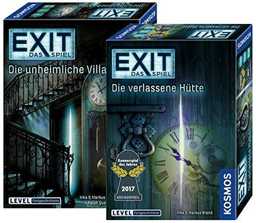 Exit Kosmos Spiele 694036 unheimliche Villa + Kosmos Spiele 692681 Spiel, Die verlassene Hütte; 2 Escape Room Spiele für Zuhause