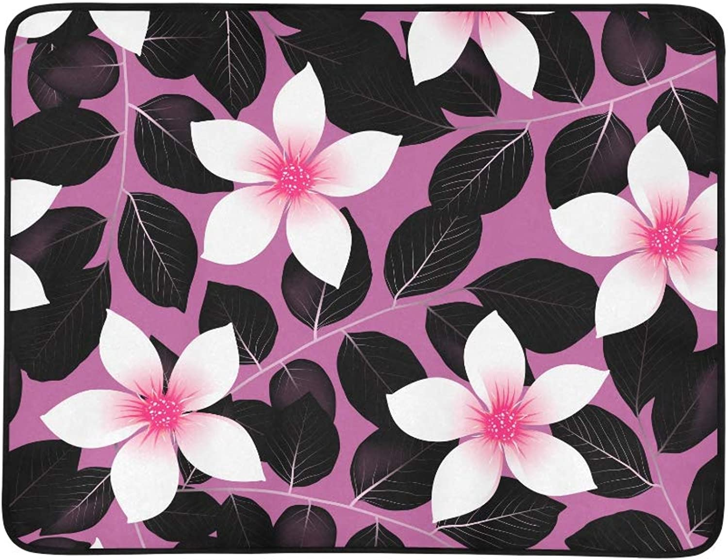 Tropical Pink Hibiscus Flowers with Black Leaves Pattern Portable and Foldable Blanket Mat 60x78 Inch Handy Mat for Camping Picnic Beach Indoor Outdoor Travel