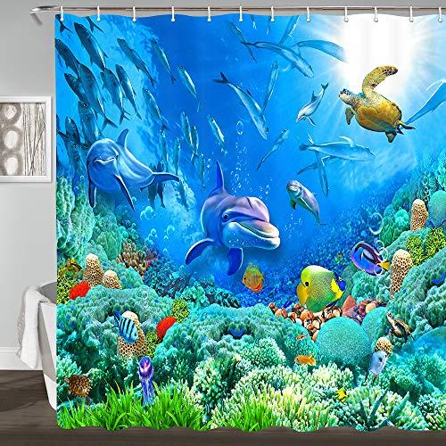 JAWO - Cortina de Ducha subacuática, delfín y Tortuga en océano Profundo con Peces, Tela de poliéster Impermeable, Cortinas de baño con Ganchos de Ducha, 69 x 70 Pulgadas