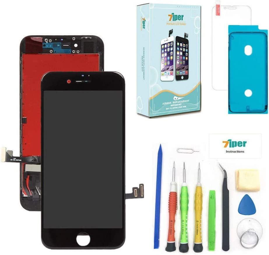 Screen Replacement for iPhone 8 (4.7 inch) -3D Touch LCD Screen Digitizer Replacement Display Assembly Repair Kits with Waterproof Adhesive, Tempered Glass, Tools,Instruction (Black)