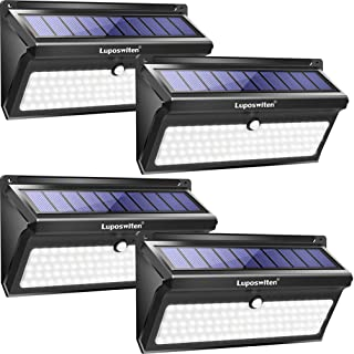 Solar lights Outdoor, Luposwiten 100 LED Waterproof Solar Powered Motion Sensor Security Light, Solar Fence Wall Lights for Patio, Deck, Yard, Garden (4 Pack)