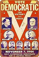 ブリキ看板ビンテージクラシックアメリカ飾り1944民主党チケットキャンペーングッズ壁アート