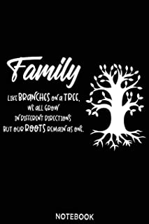Family like branches on a tree, ew all grow in different directions but our roots remain as one. Notebook: Blank Compositi...