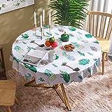 rotonda tovaglia tavola in pvc,tovaglia rotonda pulita in pvc, motivo cactus panno da tavolo in plastica, copritasto impermeabile anti macchia per sala da pranzo cucina e picnic, rotondo 181 cm