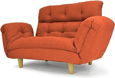 背もたれ・肘掛けリクライニング機能付きハイバックラブソファ 二人掛け 「 アルテ 」 (ポケットコイル仕様 布地タイプ) オレンジ色