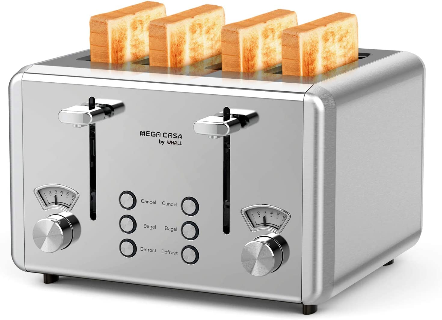 Whall Stainless Steel 4 Slice Bagel Toaster