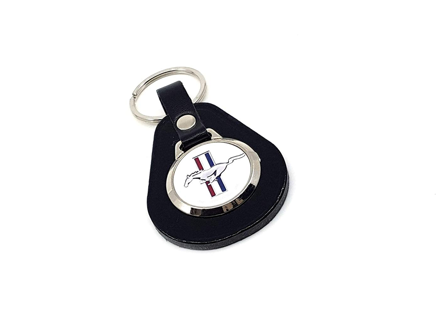Black Leather Mustang Keyring (White)