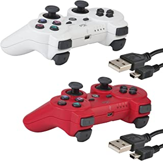 Bluetooth Wireless Controller PS3 Controller 2 Pack Double Shock Gamepad 6-Axis Game Controller Playstation 3 Bonus 2 Charging Cable Kabi (Red+White)