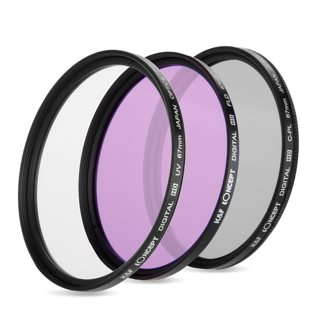 K&F Concept 67mm UV + CPL+ FLD Filtro Kit Compatible con Nikon ...