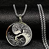 Tree of Life Enamel Stainless Steel Chain Necklaces for Men Ying Yang Silver Color Necklace Jewelry Colgante Hombre