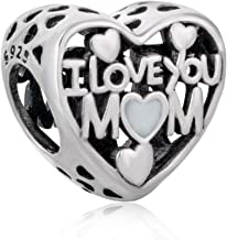 I Love Mom Heart Charms 925 Sterling Silver Charm Beads Family Love Mother and Daughter Charms for Bracelets Necklaces fit European Bracelets Mother's Birthday Gifts (B)