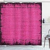 ABAKUHAUS Magenta Duschvorhang, Futuristische Grungy trüben, mit 12 Ringe Set Wasserdicht Stielvoll Modern Farbfest & Schimmel Resistent, 175x200 cm, Fuchsienfarben Rosa