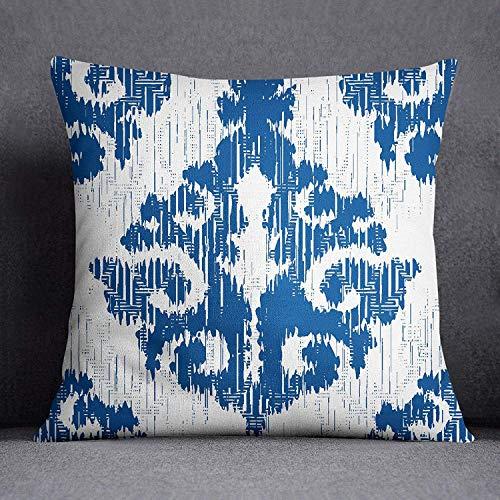 Ad4ssdu4 Blue Ikat Print kussensloop vierkante kussensloop linnen bed kussensloop satijn kussensloop sprei kussensloop voor slaapkamer ISUBSAS316A