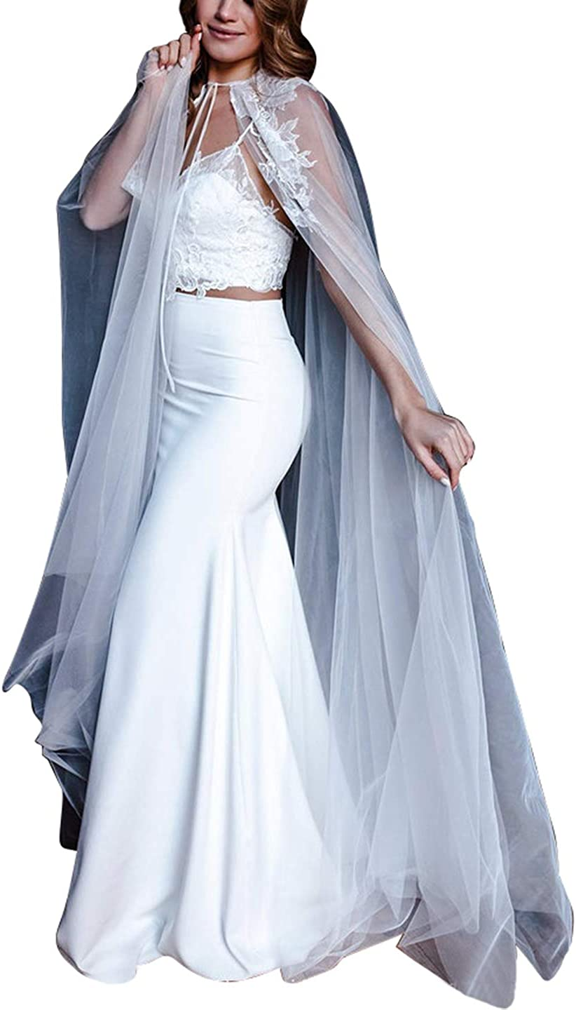 Omaha Mall Wedding Capes for Women Cathedral Fees free Ivory Length Lace Flower Brida