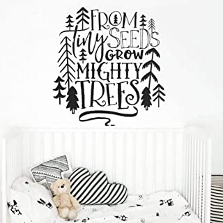 LJQTA Wall Sticker Nursery Quote Wall Decal from Tiny Seeds Grow Mighty Trees Wall Sticker Tribal Kids Room Decor Woodland Tree Vinyl Decal