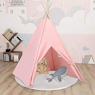 LIUBIAONET Lektält – tunnel barn tipi tält med ficka persikohud rosa 120 x 120 x 150 cm
