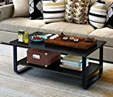 Mordern Large Coffee Table with Lower Storage Shelf for Living Room, 48' x 24' (Black)