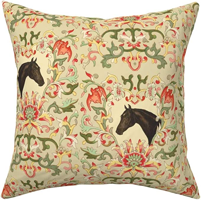 Roostery Throw Pillow Equestrian Horse Pony Floral Flower Damask Thoroughbred Print Linen Cotton Canvas Knife Edge Accent Pillow 18in X 18in Optional Insert Home Kitchen