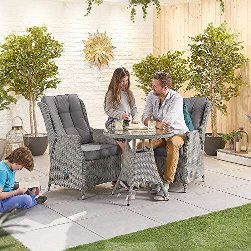 Nova Outdoor Living - Carolina Outdoor - Juego de bistró de ratán de 2 asientos con mesa redonda de 75 cm - Tejido blanco lavado medio redondo