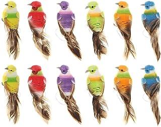 Weanty Lot de 12 oiseaux artificiels colorés sur pinces en mousse pour loisirs créatifs de jardin d'oiseaux Ornements Bric...