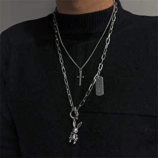 YERTTER Retro Punk Chunky Choker Cross Rabbit Pendant Neckalce Toggle choker Chain Boho Jewelry Chain for Women and Girls ...