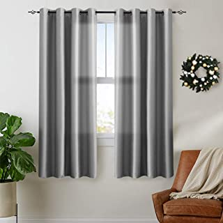 Vangao Grey Curtains 63 inches Long Faux Silk Opaque Curtain Light Filtering Living Room Satin Drapes Privacy Window Treatments Set for Bedroom, Grommet Top,2 Panels
