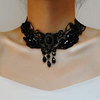 Clairy Gothic Lace Choker Necklace Black Necklace Tassel Necklace Chain Gem Stone Delicate Pendant Necklace Jewelry for Wo...