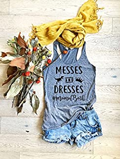 Messes & Dresses MomOfBoth. Hand Made. Heather Gray. Women's Eco Tri-Blend Tanks. Women Clothing. Mothers Day Tank Top. Super Soft Tank. Mom's Fun Tank.