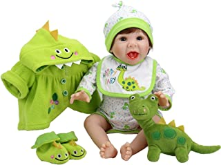 Aori Reborn Baby Doll 22 Inch Handmade Realistic Laughing Baby Doll with Green Dinosaur Set for Girls Children