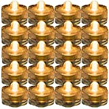 JYtrend Super Bright LED Floral Tea Light Submersible Lights for Party Wedding (Amber, 20 Pack)