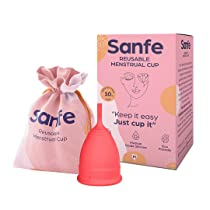 Sanfe FDA Approved | Silicone Reusable Menstrual Cup for Women Medium Size with Pouch No Leakage & Odor Protection | Rash Free | For Up to 8-10 Hours Protection | Period Cup