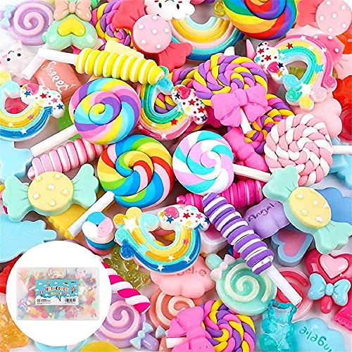 Holicolor 120pcs Slime Charms Cute Set Resin Charms Mixed Assorted Candy Sweets Resin Flatback Slime Beads Making Supplies for DIY Craft Making and Ornament Scrapbooking