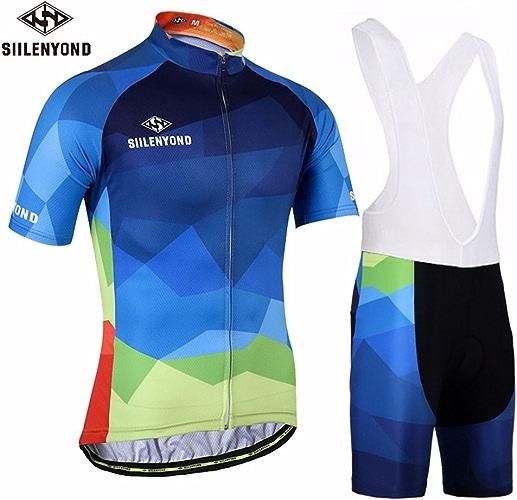 MOPP Maillot Cycliste Maillot de Cyclisme pour Hommes à Manches Courtes en Plein air Race Fit rembourré Gel Cuissard à Bretelles Combo Set Unisexe