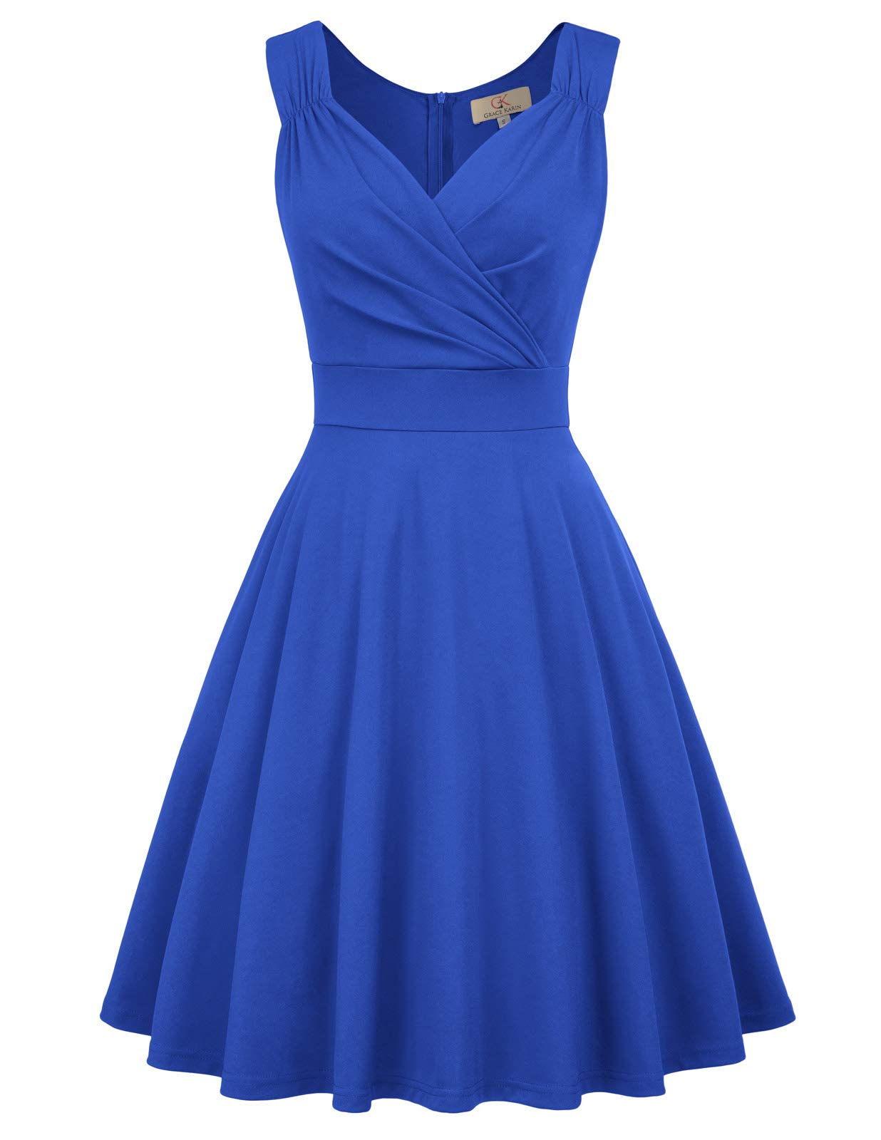 Available at Amazon: GRACE KARIN Women's 50s 60s Vintage Sleeveless V-Neck Cocktail Swing Dress