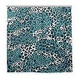BALII Duschvorhang, Leopardenhaut, 183 x 183 cm, Polyester, wasserdicht, mit 12 Haken für Badezimmer