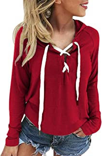 2018 Women's Hoodies,Sweatshirt Criss Cross Lace Up Long Sleeve Sweat Crop Top Pullover by-NEWONESUN