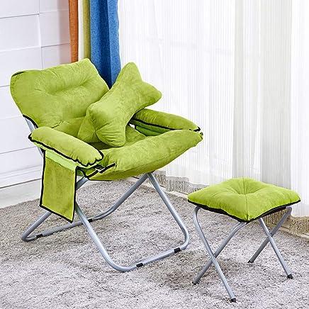 创意懒人沙发椅组合三件套 可折叠电脑椅客厅单人榻榻米多功能带扶手休闲椅阳台可拆洗寝室椅子 (绿色+脚踏+抱枕)