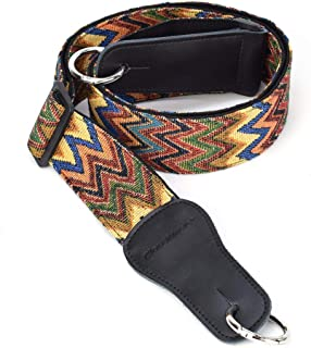 CLOUDMUSIC Banjo Strap Jacquard Woven With Leather Ends And Silver Rings (Coloful Waves)