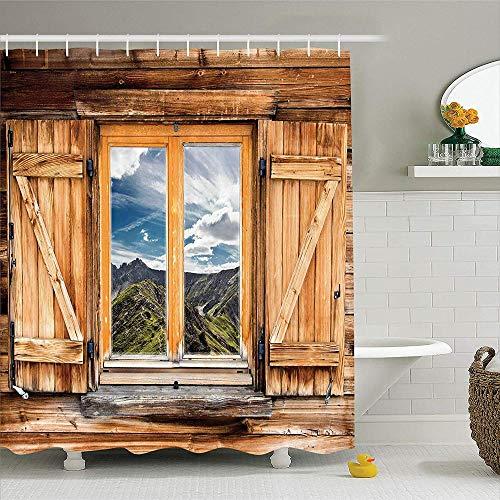 NOBRAND Mountain and Sky View van een houten luiken raam kamer op de top van de heuvels natuur look polyester stof douche gordijn